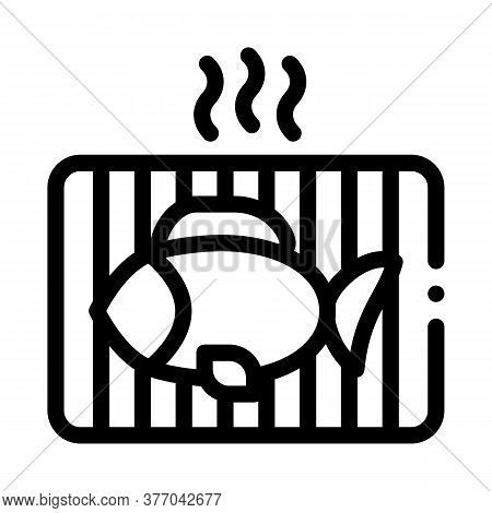 Cooking Bbq Fish Icon Vector. Cooking Bbq Fish Sign. Isolated Contour Symbol Illustration