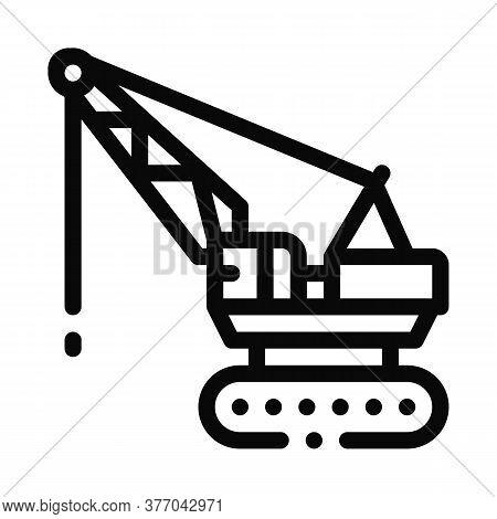 Crane Transport Icon Vector. Crane Transport Sign. Isolated Contour Symbol Illustration
