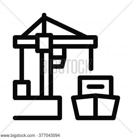 Port Crane And Ship Icon Vector. Port Crane And Ship Sign. Isolated Contour Symbol Illustration