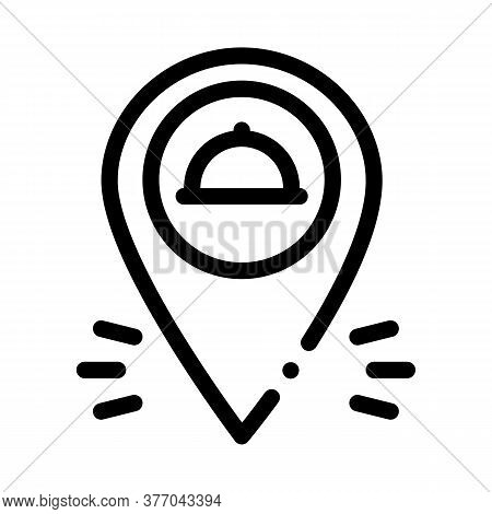 Food Delivery Gps Mark Icon Vector. Food Delivery Gps Mark Sign. Isolated Contour Symbol Illustratio