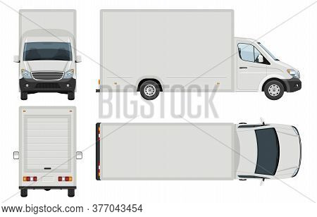 Van Vector Template With Simple Colors Without Gradients And Effects. View From Side, Front, Back, A