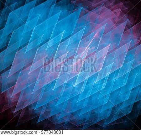 Blurred Blue Rhombuses Intersect To Create The Background. Pink Flashes Of Color Are Visible. Abstra