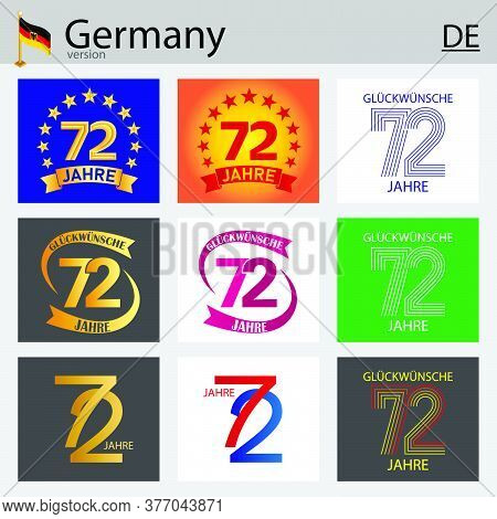 German Set Of Number Seventy-two Years (72 Years) Celebration Design. Anniversary Vector Number Temp