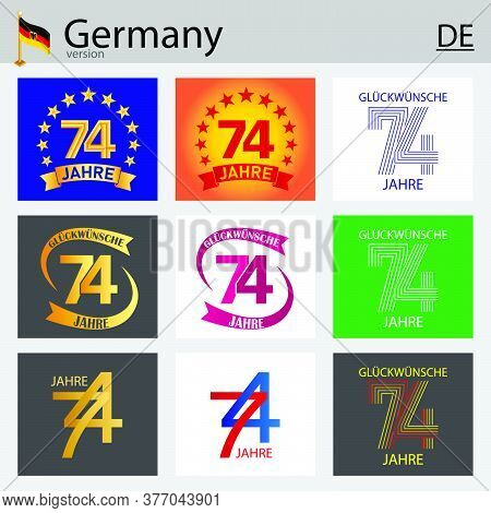 German Set Of Number Seventy-four Years (74 Years) Celebration Design. Anniversary Vector Number Tem