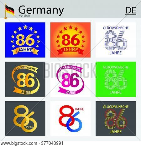 German Set Of Number Eighty-six Years (86 Years) Celebration Design. Anniversary Vector Number Templ