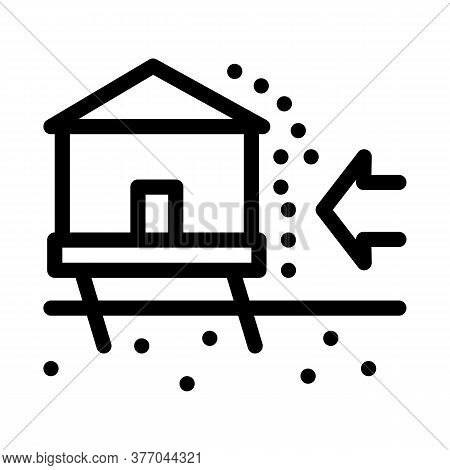 House Demolishes With Wind Icon Vector. House Demolishes With Wind Sign. Isolated Contour Symbol Ill