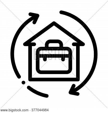 Case In Home With Circle Arrows Icon Vector. Case In Home With Circle Arrows Sign. Isolated Contour