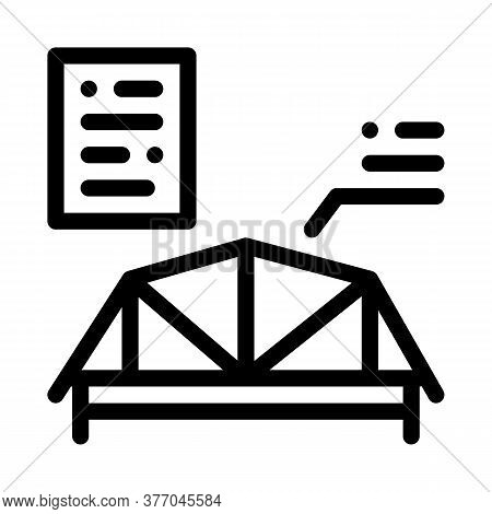 Wooden Roof Skeleton Icon Vector. Wooden Roof Skeleton Sign. Isolated Contour Symbol Illustration