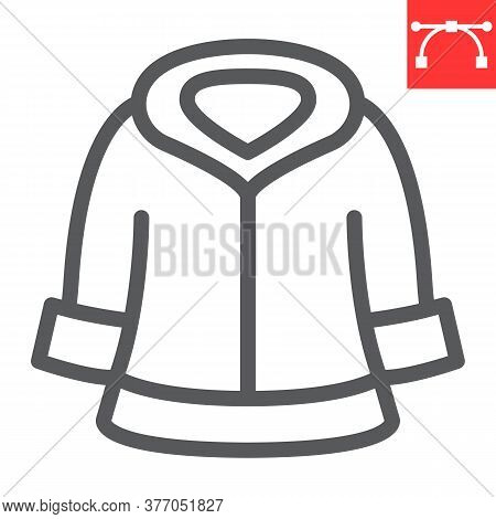 Fur Dry Cleaning Line Icon, Dry Cleaning And Wash, Coat Sign Vector Graphics, Editable Stroke Linear