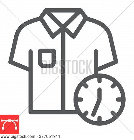 Express Dry Cleaning Line Icon, Dry Cleaning And Wash, Shirt With Clock Sign Vector Graphics, Editab