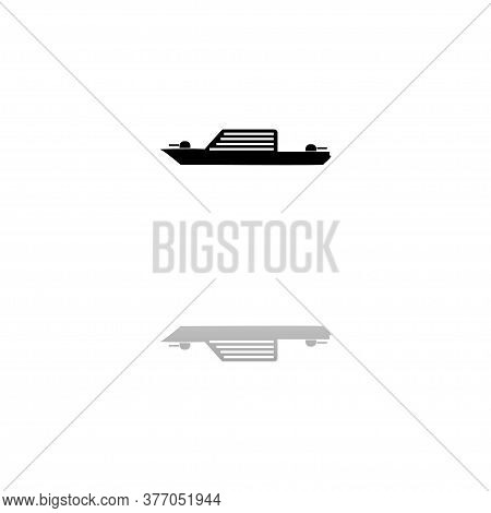 Warship. Black Symbol On White Background. Simple Illustration. Flat Vector Icon. Mirror Reflection