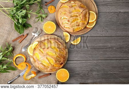 Sunny Orange Cake Flavored With Freshly Squeezed Orange Juice And Orange Zest With Candied Orange On