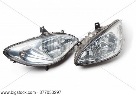 Pair Of Halogen Headlights For A German Auto Optical Equipment With Corrector And Lens Inside On Whi