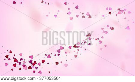Falling Hearts Vector Confetti. Valentines Day Tender Pattern. Beautiful Pink Frame Valentines Day D