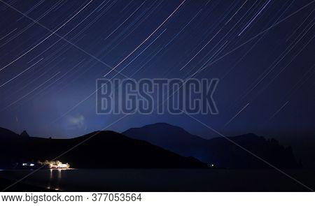 Long Exposure Starry Landscape Of Lisya Bay, Near Settlement Kurortnoye, Urban District Of Feodosia,