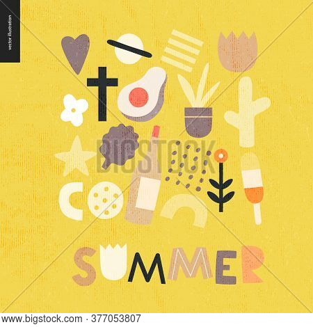 Summer Lettering And Primitive Pattern With Seasonal Elements - Flowers, Avocado, Ice Cream, Wine, S