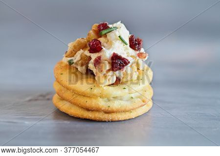 Fresh Homemade Cranberry Cheese Spread Made With Cream Cheese, White Cheddar, Dried Cranberries, Wal