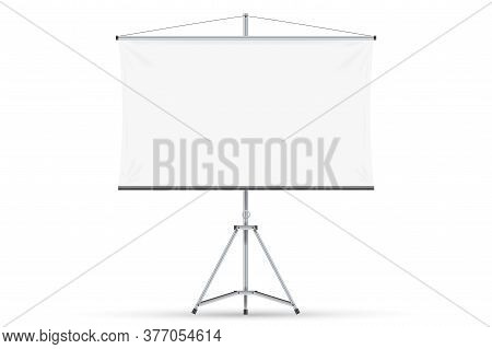 Blank Projection Screen. Isolated Empty White Projection Screen Display On Tripod. Vector Education,