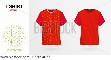 T-shirt Mockup With Pattern, Two Versions Of Red Vector T-shirt. Vector Template.