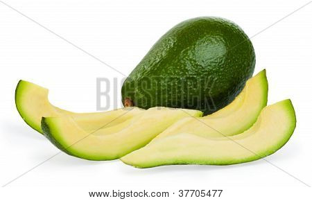 Slice Avocado On White Background