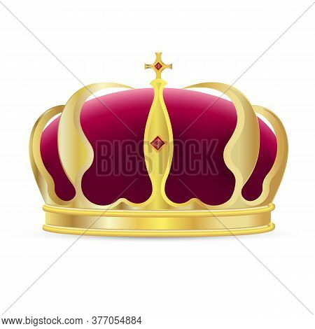 Monarch Crown Icon. Isolated Realistic Royal Gold Crown With Red Velvet, Cross And Ruby Gems Icon. V