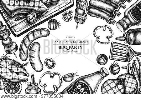 Design With Black And White Spatula, Pork Ribs, Kebab, Sausages, Steak, Sauce Bottles, Grilled Burge
