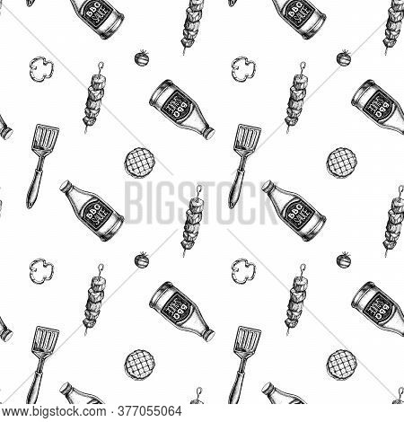 Seamless Pattern With Black And White Spatula, Kebab, Sauce Bottles, Grilled Burger Patties, Grilled