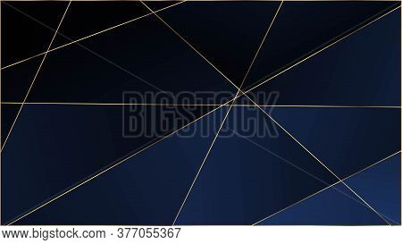 Blue Premium Triangular Texture. Elegant Dark Platinum Chic Shapes Border Gold Lines Polygon Luxury