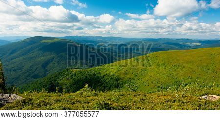 Summer Landscape Of Runa Mountain. Grassy Hills Of Alpine Meadow (polonyna). Beautiful Destination O