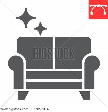Furniture Dry Cleaning Glyph Icon, Dry Cleaning And Laundry, Sofa Cleaning Sign Vector Graphics, Edi
