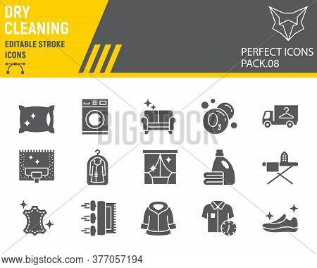 Dry Cleaning Glyph Icon Set, Laundry Symbols Collection, Vector Sketches, Logo Illustrations, Dry Cl