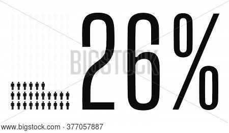 Twenty Six Percent People Graphic, 26 Percentage Diagram. Vector People Icon Chart Design For Web Ui