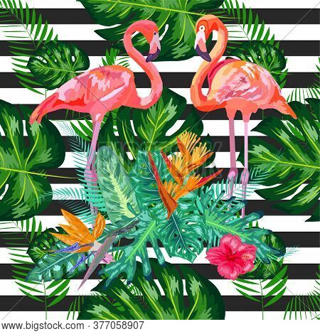 Seamless Pattern With Dark Grunge Stripes And Pink Flamingo. Pink Flamingo Background