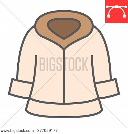 Fur Dry Cleaning Color Line Icon, Dry Cleaning And Wash, Coat Sign Vector Graphics, Editable Stroke
