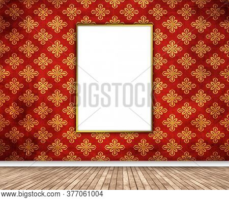 3D render of an interior with blank picture hanging on damask wallpaper