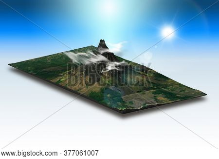 3D render of an isometric landscape of a mountainous terrain