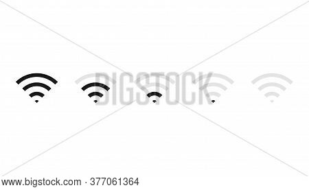 Set Of Wifi Icons With Signal Strength Level. Connection Wave Symbol From Low To High. Isolated Ante