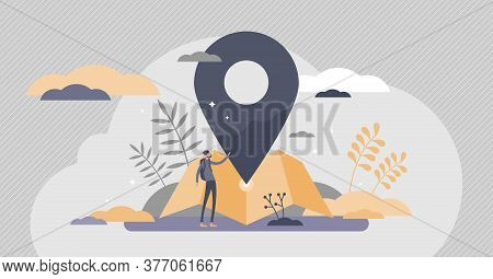Location Services As Destination Gps Pin Point On Map Flat Tiny Persons Concept. Navigation Symbol F
