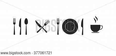 Kitchen Utensil In Black And White. Spoon, Plate, Fork, Knife And Cup Sign. Isolated Restaurant Tool