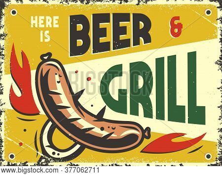 Retro Poster With Grill Barbeque Sausage On A Fork
