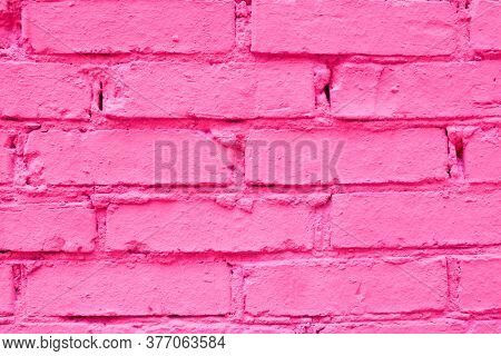 Abstract Color Brick Wall Texture Background Pattern, Wall Brick Surface Texture. Pink Colored Brick