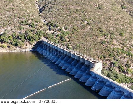 Aerial View Of Lake Hodges Dam Surrounded By Bernardo Mountain, Rancho Bernardo, East San Diego Coun