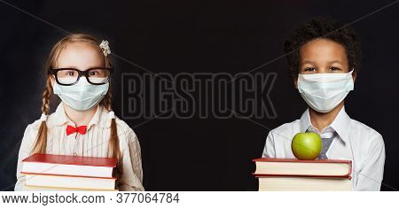 Happy Children In Protective Face Mask On Black Banner Background, Back To School And Covid-19 Conce