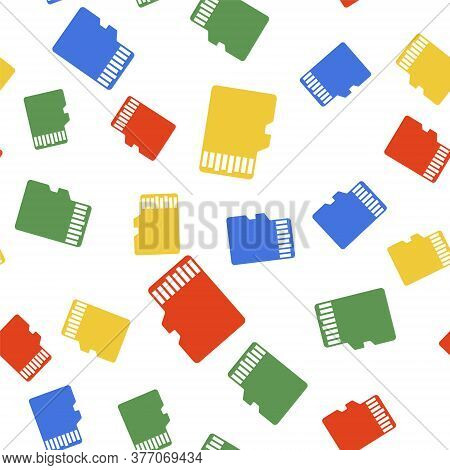 Color Micro Sd Memory Card Icon Isolated Seamless Pattern On White Background. Vector