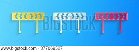 Paper Cut Safety Barricade Symbol Icon Isolated On Blue Background. Traffic Sign Road. Road Block Si