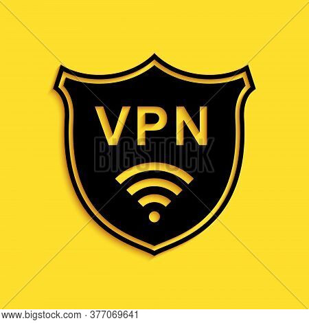 Black Shield With Vpn And Wifi Wireless Internet Network Icon Isolated On Yellow Background. Vpn Pro