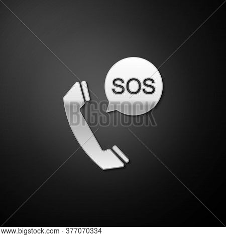Silver Sos Call Icon Isolated On Black Background. 911, Emergency, Help, Warning, Alarm. Long Shadow