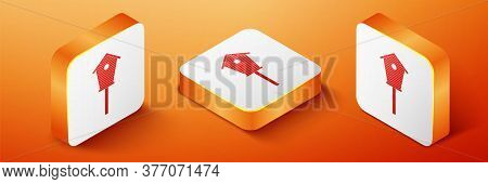 Isometric Bird House Icon Isolated On Orange Background. Nesting Box Birdhouse, Homemade Building Fo