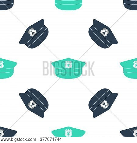 Green Police Cap With Cockade Icon Isolated Seamless Pattern On White Background. Police Hat Sign. V