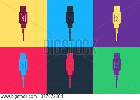 Pop Art Usb Cable Cord Icon Isolated On Color Background. Connectors And Sockets For Pc And Mobile D